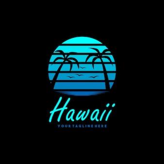 Design creativo del logo e della maglietta della spiaggia delle hawaii