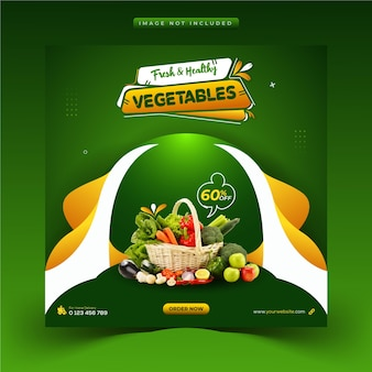 Creativo cibo sano verdura e drogheria social media post instagram e modello banner web