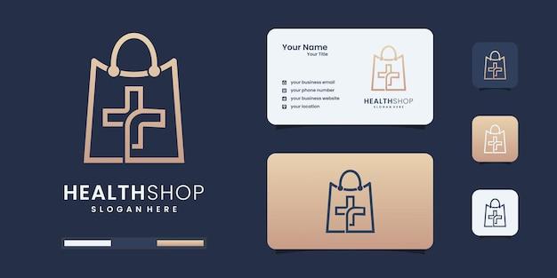 Logo dello shopping sano e creativo con stile di arte di linea. logo da utilizzare per la tua identità aziendale.