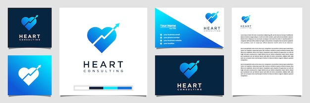 Modello di ispirazione del logo grafico cuore creativo. logo biglietto da visita e carta intestata
