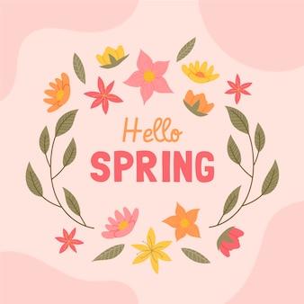 Messaggio creativo ciao primavera con fiori illustrati