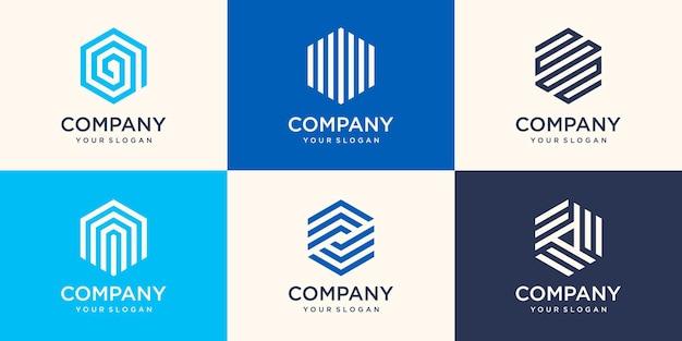 Design del logo esagonale creativo con concetto di striscia, modello di logo esagonale