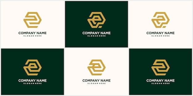Logo esagonale creativo con colore giallo dorato