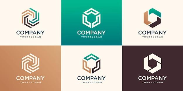 Elemento di design esagonale creativo, modello di logo esagonale
