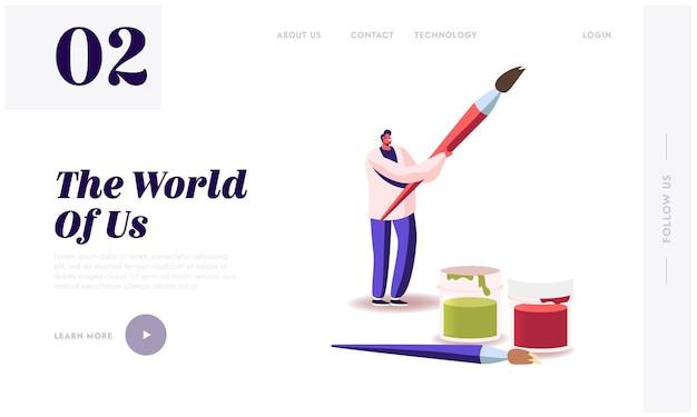 Hobby creativo, lezione di disegno, modello di pagina di destinazione del talento