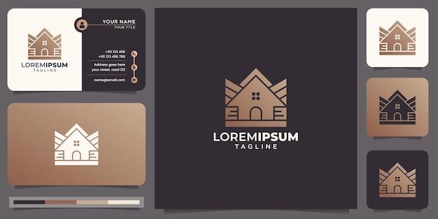 Logo di linea mono casa creativa a forma di sagoma design.logo e ispirazione del modello di biglietto da visita.