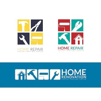 Logo di riparazione casa creativa