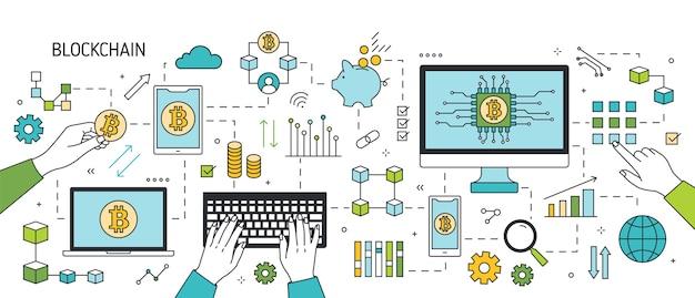 Banner orizzontale creativo con mani, laptop, smartphone e altri dispositivi elettronici