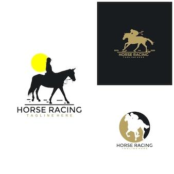 Illustrazioni creative di concetti di design di corse di cavalli