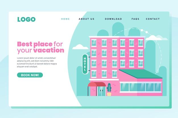 Pagina di destinazione dell'hotel creativa con illustrazione