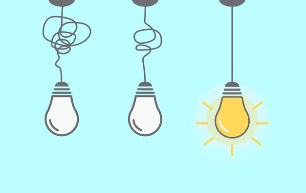 Idea creativa banner icona lampadina su sfondo bianco idea e ispirazione concept