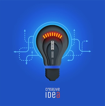 Idea creativa invenzione ispirazione innovazione soluzione lampada tagliata in carta