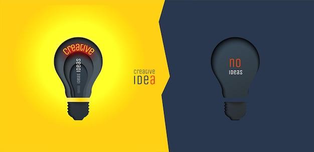 Idea creativa invenzione ispirazione innovazione soluzione lampada tagliata a carta