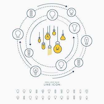 Linea creativa icone della lampadina di idea infographic
