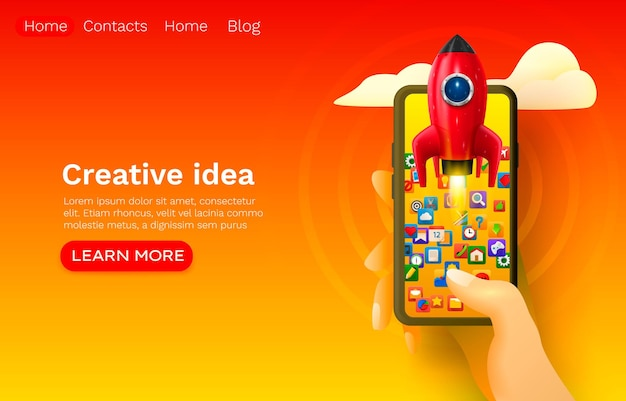 Spazio razzo idea creativa, avvio mobile, design banner sito web.