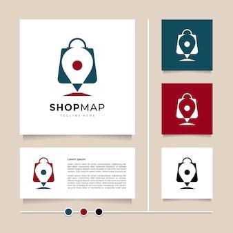 Idea creativa negozio mappa logo design icona vettore e simbolo con combinazione di shopping bag e pin