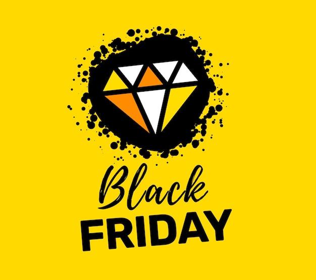 Illustrazione creativa della tipografia dell'iscrizione di vendita del venerdì nero con bel diamante su sfondo di colore giallo.