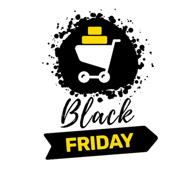 Illustrazione creativa della tipografia di iscrizione di vendita venerdì nero con carrello della spesa su sfondo di colore bianco.