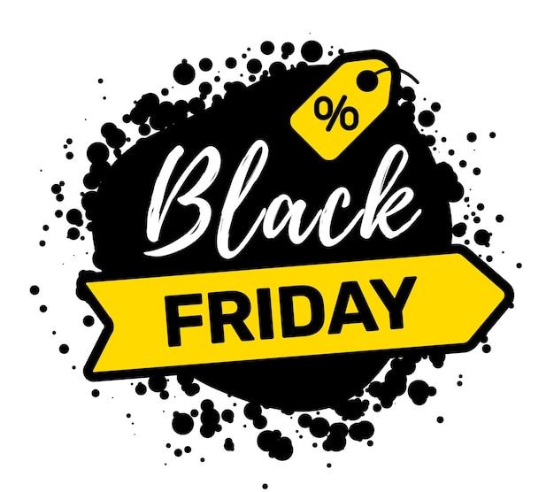 Illustrazione creativa della tipografia di iscrizione di vendita venerdì nero con cartellino del prezzo giallo su sfondo di colore bianco.