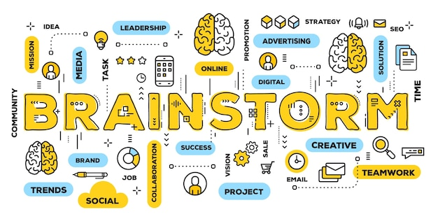 Illustrazione creativa di brainstorming tipografia scritta parola gialla con icone di linea