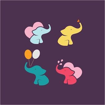 Illustrazione creativa cartone animato elefante simpatico animale con cuore e segno di palloncino logo design