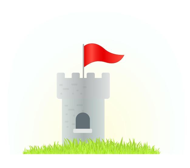 Illustrazione creativa della torre del castello con bandiera rossa su sfondo bianco con erba