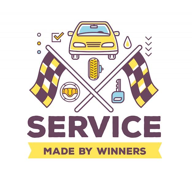 Illustrazione creativa di auto vista frontale su sfondo bianco con intestazione, bandiere da corsa, accessori auto linea.