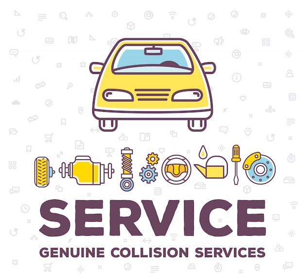 Illustrazione creativa di auto vista frontale su sfondo bianco modello con intestazione parola e accessori auto linea.