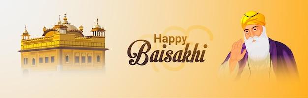 Illustrazione creativa del guru nanak dev con tempio d'oro per felice vaisakhi Vettore Premium
