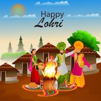 Illustrazione creativa per la celebrazione e lo sfondo felici di lohri