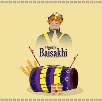 Illustrazione creativa di felice biglietto di auguri vaisakhi