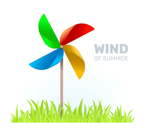 Illustrazione creativa di multicolore bambini giocattolo elica mulino a vento con lama su sfondo bianco con erba