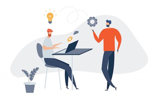Illustrazione creativa, notizie online, social network, comunicazione virtuale, recupero di informazioni, notizie aziendali, costruzione di siti. gli uomini d'affari discutono di social. preparare l'avvio di un progetto.