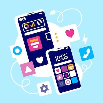 Illustrazione creativa del gadget del telefono con l'icona dell'app e il cavo di alimentazione su sfondo blu