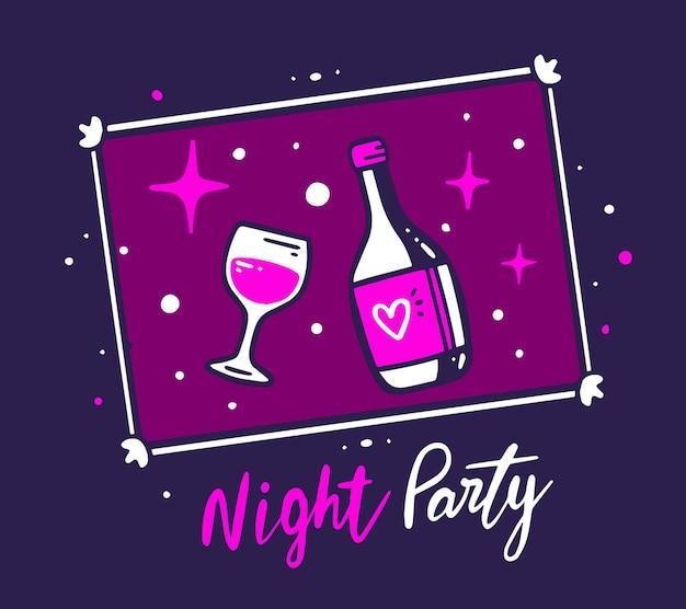 Illustrazione creativa della cornice per foto con una bottiglia di vino e un bicchiere su sfondo di colore viola notte con stella e testo.