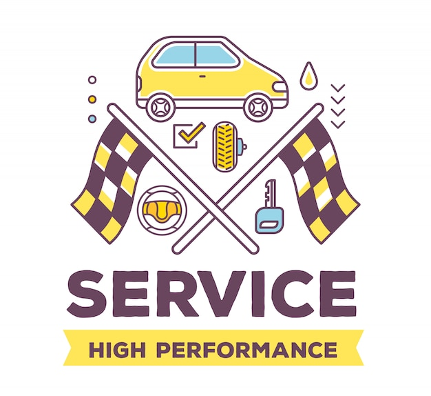 Illustrazione creativa di auto vista laterale su sfondo bianco con intestazione, bandiere da corsa, accessori auto linea.