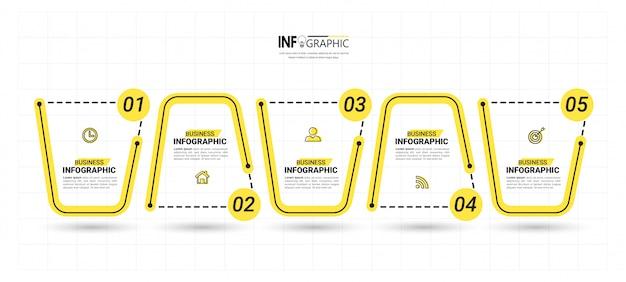 Modello di infografica creativa 5 passaggi