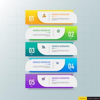 Modello di 5 passaggi di infografica creativa