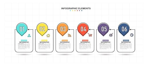 Modello di 6 passaggi di infografica creativa