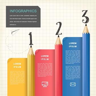 Design infografico creativo con elementi colorati a matita