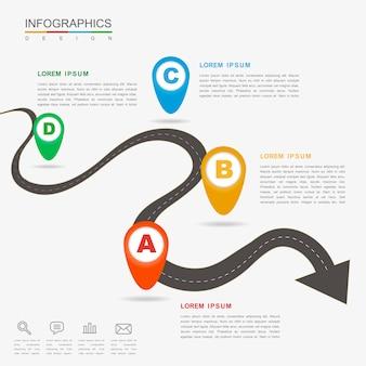 Design infografico creativo con freccia di flessione piatta