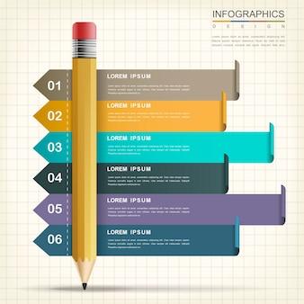 Progettazione infografica creativa con elementi matita e banner