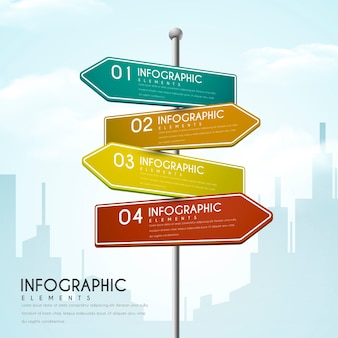 Progettazione infografica creativa con elementi del segnale stradale