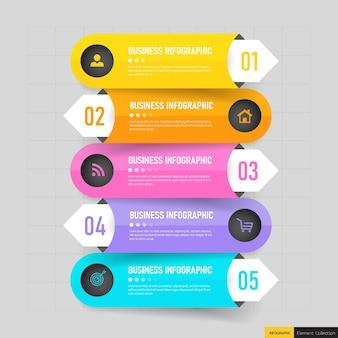 Modello di cinque passaggi di infografica creativa.