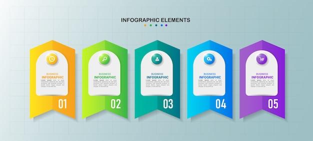Modello di cinque passaggi di infografica creativa