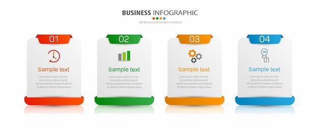 Modello di infografica creativa con icone e 4 opzioni
