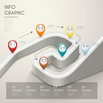 Infografica creativa con strada di piegatura 3d e indicatori