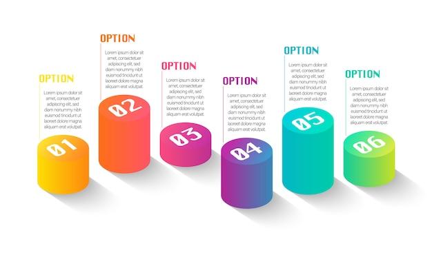 Infografica creativa con 6 opzioni con testi