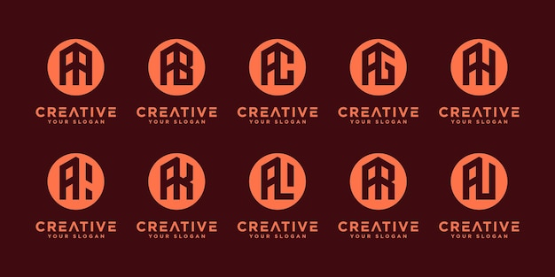 Creativo iniziale a ed ecc., design del logo della collezione di monogrammi