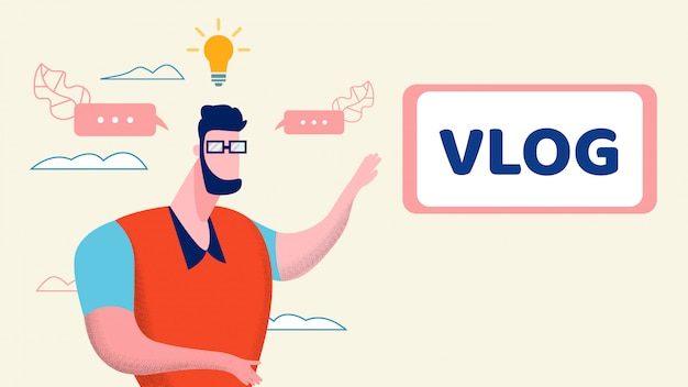 Illustrazione piana di idea creativa di internet vlog